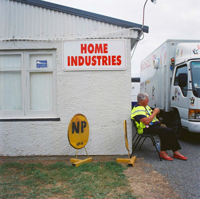 Sign advertising home industries at Levin A&P show in New Zealand