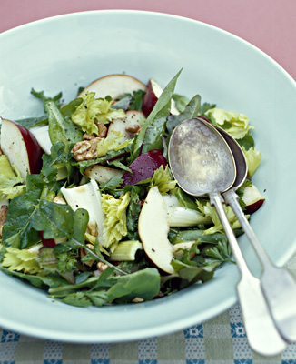 Ruth Pretty's pear, celery and walnut salad with honey vinaigrette.