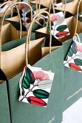 Gift bags at WOAP Crimson Lunch in Wellington.