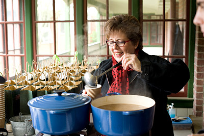 Ruth Pretty serves soup at WOAP Crimson Lunch