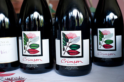 Bottles of Ata Rangi Crimson Pinot Noir at WOAP event.