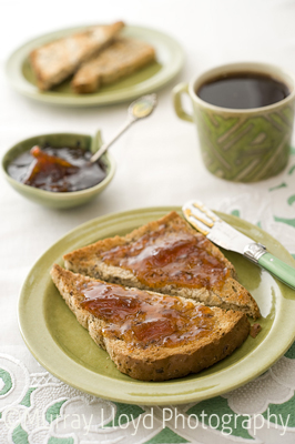 Homemade seville orange marmalade, organic Purebread toast and organic fairtrade Hummingbird coffee
