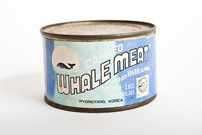Front view of can of Whalemeat from North Korea.