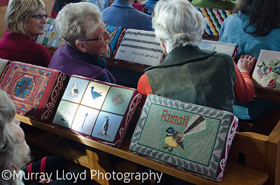 Embroidered kneelers at Rangiatea Church