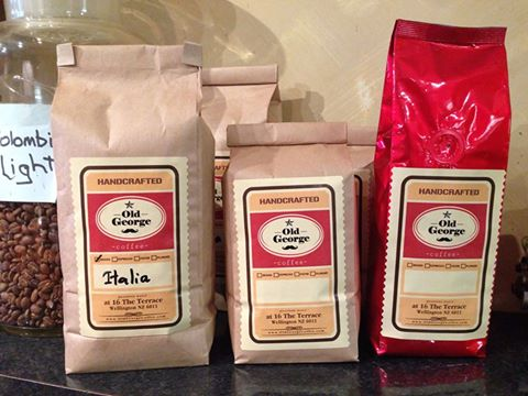 Old George coffee beans with new packaging in Wellington.