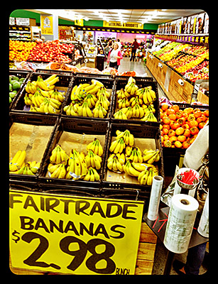 All Good Fair Trade Bananas at entrance of supermaket
