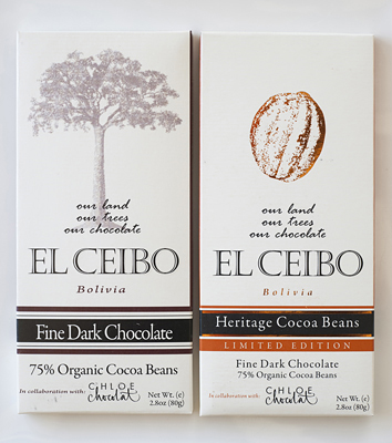 El Ceibo 75% dark chocolate bars from Bolivia.