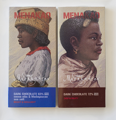Two Menakao dark chocolate bars from Madagaskar