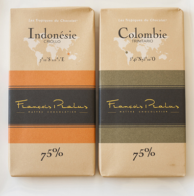 Two bars of Francois Pralus dark 75% Chocolate from Indonesia and Columbia