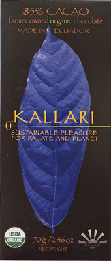 Kallari organic chocolate, 85% Cacao from Ecuador.