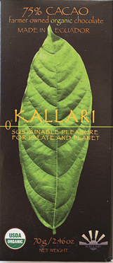 Kallari organic 75% dark chocolate from Ecuador.