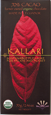 Kallari organic 70% dark chocolate from Ecuador.