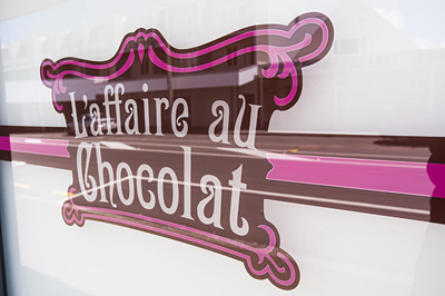 Window of L'affair au Chocolat in Wellington, NZ.