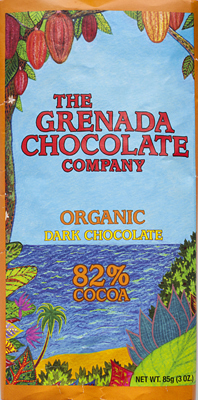 Organic 82% dark chocolate from Grenada Chocolate Company.