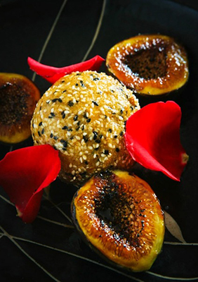 deep fried black sesame icecream with palm sugar caramalized figs