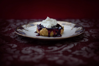 White chocolate scone with bloodberry jam by Jonathan Cameron