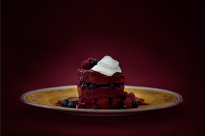 Summer pudding with bloodberry coulis by Jonathan Cameron.