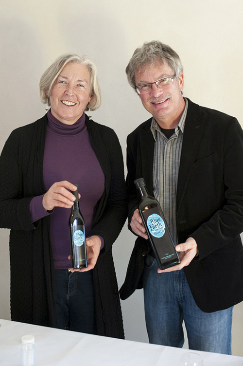 Margaret and Mike Hanson from Blue Earth Olive Oil,  photographed at Poppies Martinborough