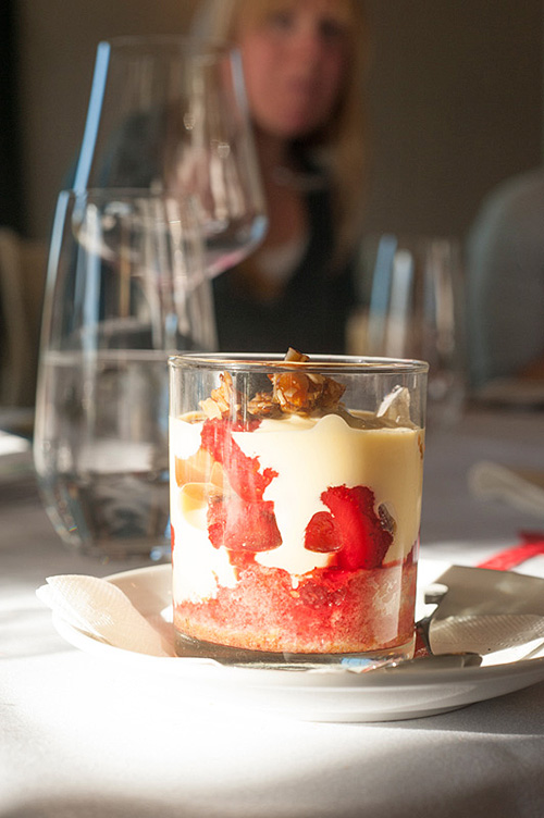 A dessert at Poppies Restaurant, Creme Inglesa with Barcelona inspired Trifle .