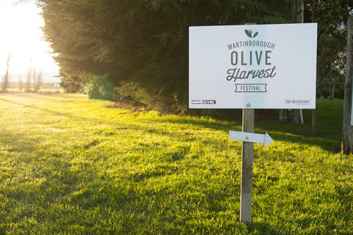 Sign advertising Martinborough Olive Festival