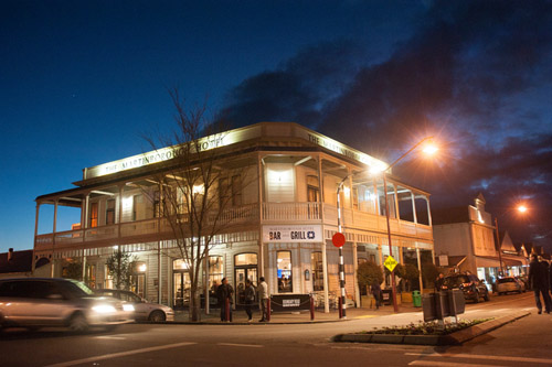 Martinborough Hotel at night.