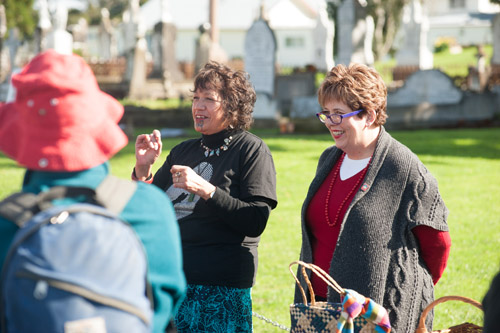 Queenie Rikihana and Ruth Pretty welcome guests at Rangiatea Church