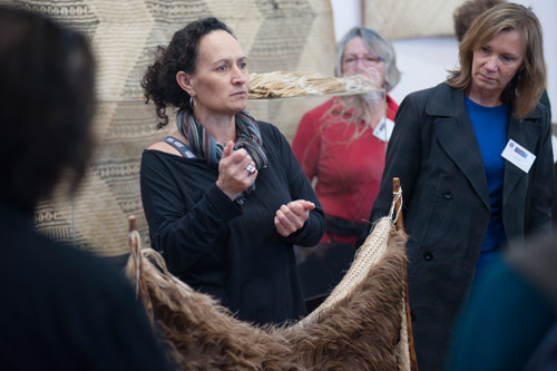 Elaine Bevan explains weaving at Te Whare Toi in Otaki