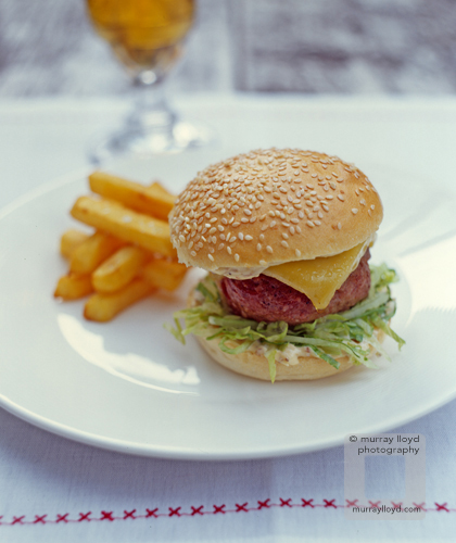 Classic hamburger with fries for Ruth Pretty cookbook