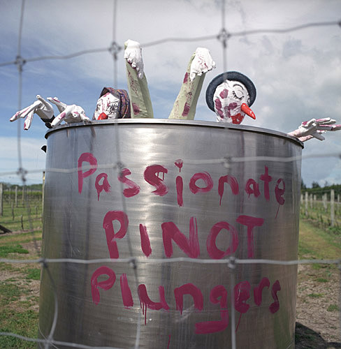 Pinot plungers at Scarecrow Festival in Greytown