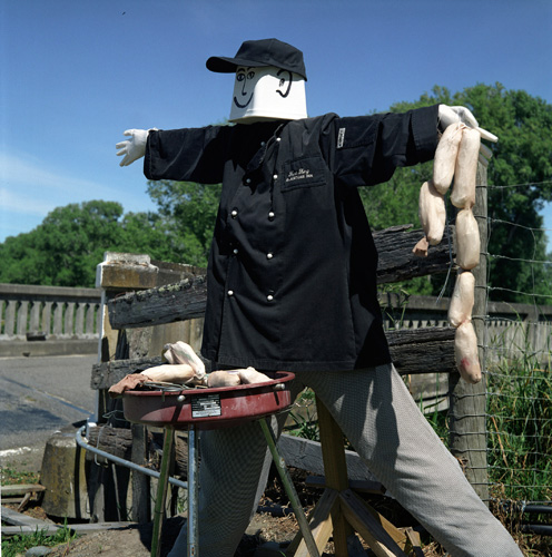 Scarecrow looking like a Chef with barbeque and sausages at Scarecrow Festival in Greytown