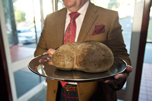 Haggis being held on tray.