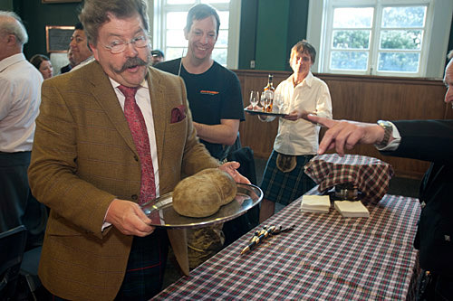 Haggis being piped in to Regional Wines whisky tasting.