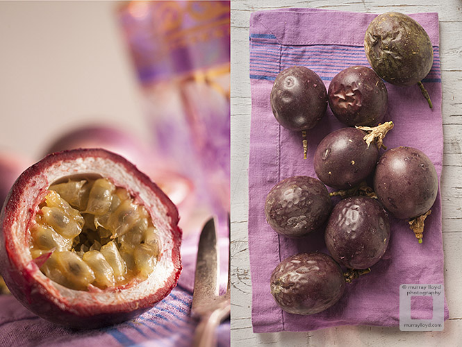 Passionfruit photographed from above and close up with purple tones in background.