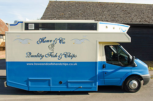 Howe and Co fish and Chip mobile van in Quainton Village, England.