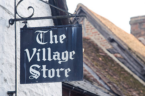 Village store sign in Quainton Village.