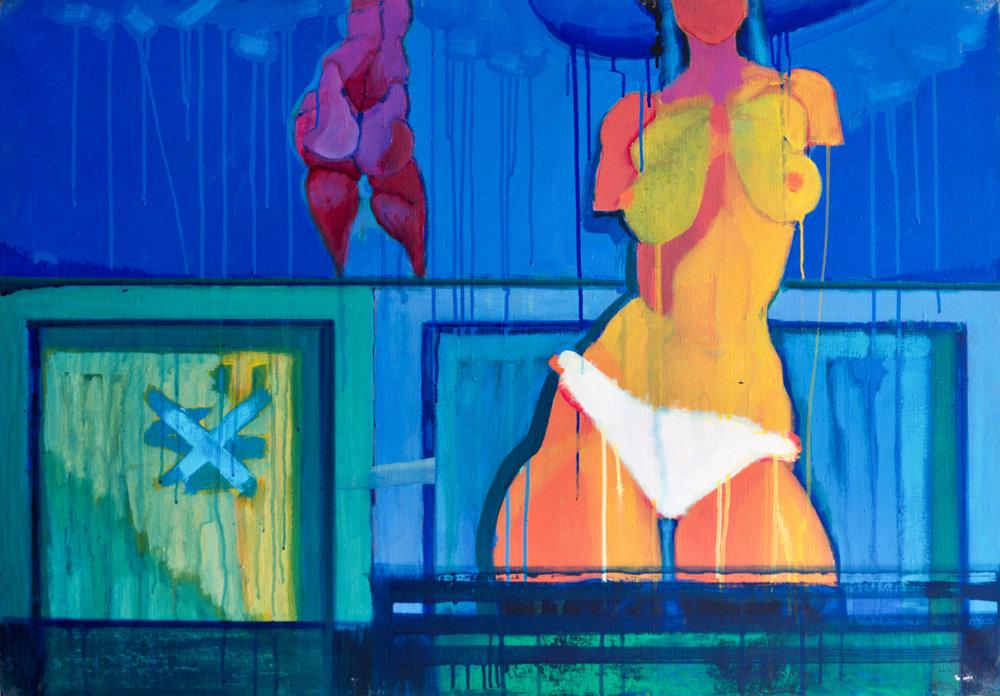 Modernističen akt   1976, olje na platnu, 100 x 70 cm