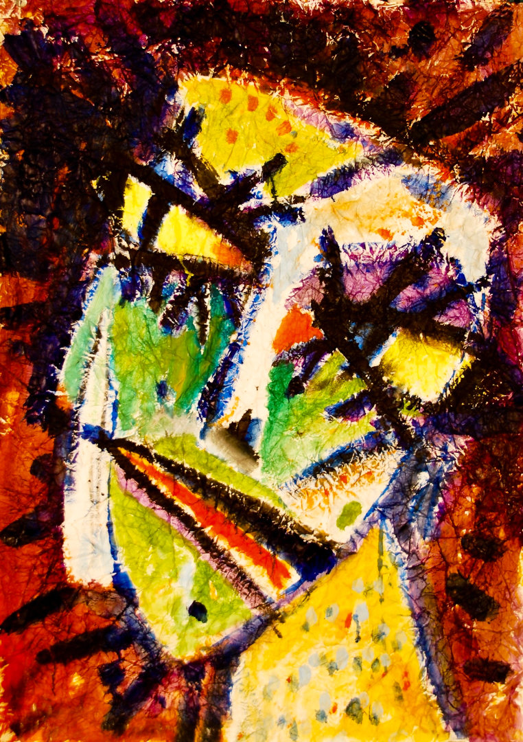 Zmečkanke - Demetra   1986, akril na pomečkanem papirju, 80 x 120 cm