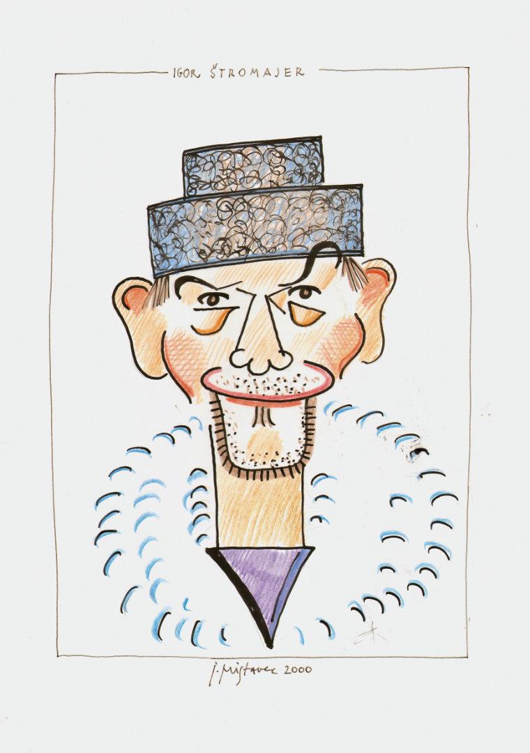 Igor Štromajer  - iz cikla Karikaturni portreti  2000, barvni svinčnik in flomaster na papir, A3