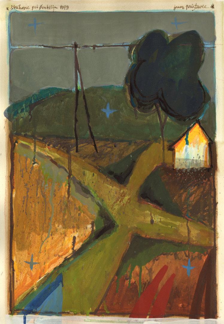 Štrihovec pri Šentilju   1979, akvarel na papirju, A3