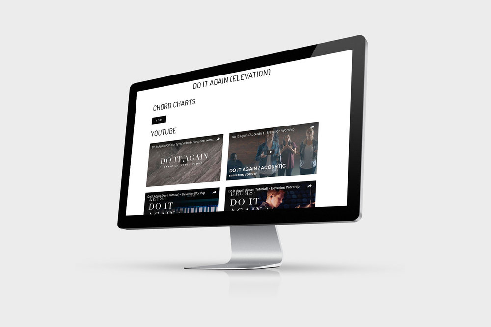 Above: the individual Song List page - featuring chord charts, YouTube links and lyrics.