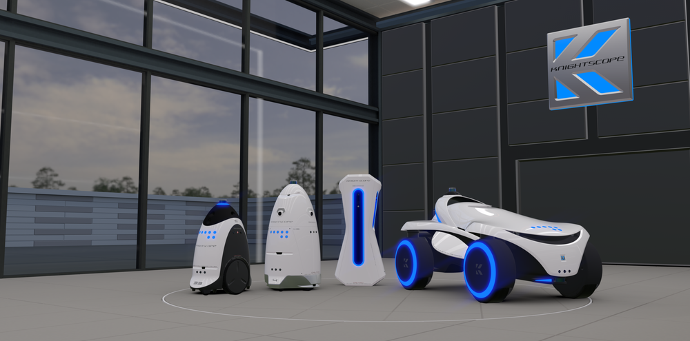 "PHOTO: The entire ""K-Team"" (left to right K3 indoor, K5 outdoor, K1 stationary and K7 multi-terrain) on the turntable in the Knightscope Virtual Reality Design Studio"
