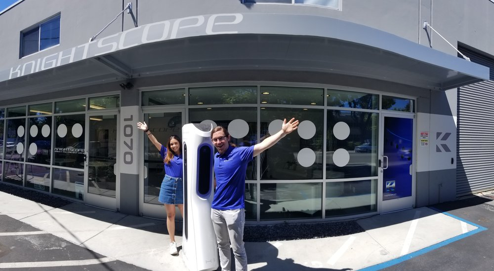 PHOTO (left to right): Shivani Singh, the K1 Stationary ADM, and Matt Condino at Knightscope Headquarters in Mountain View, California