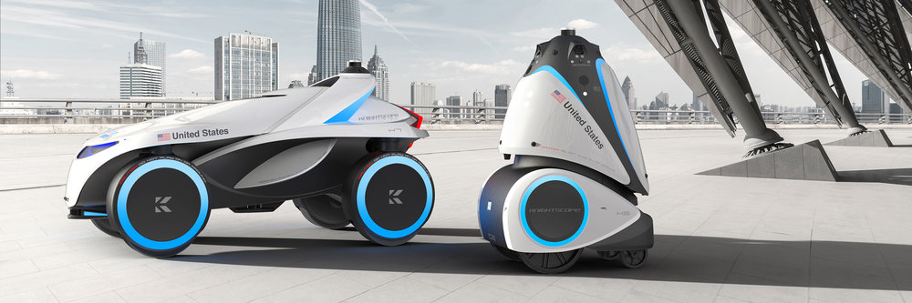The future K7 multi-terrain security robot and 4th generation K5 outdoor machine shipping in 2019