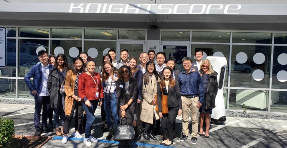ABOVE: Knightscope hosted Emory University students in Silicon Valley led by Mercedes Soria, executive vice president and chief intelligence officer, Knightscope, Inc. and Emory alumnus (red top)