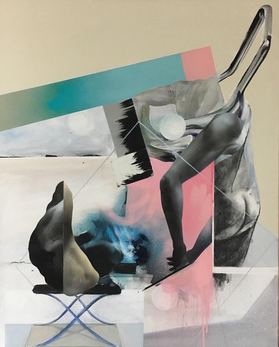 Man Ate Dog , spraypaint ,acrylics and enamel on canvas , framed . 80x100x4cm 2015.jpeg