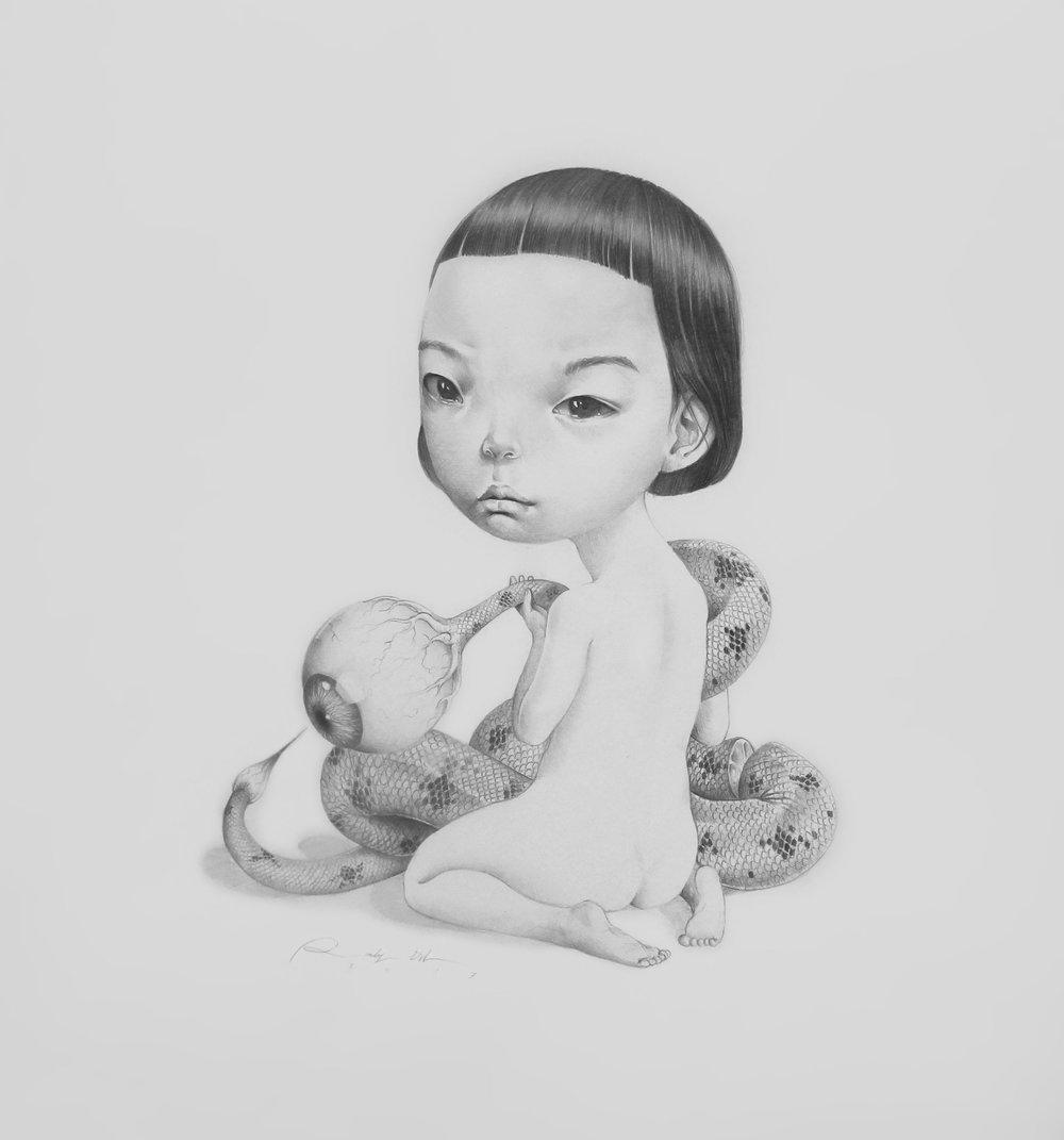 Roby Dwi Antono, BRITTLE (RINGKIH), 2017, drawing on paper, 42 x 38 cm.JPG