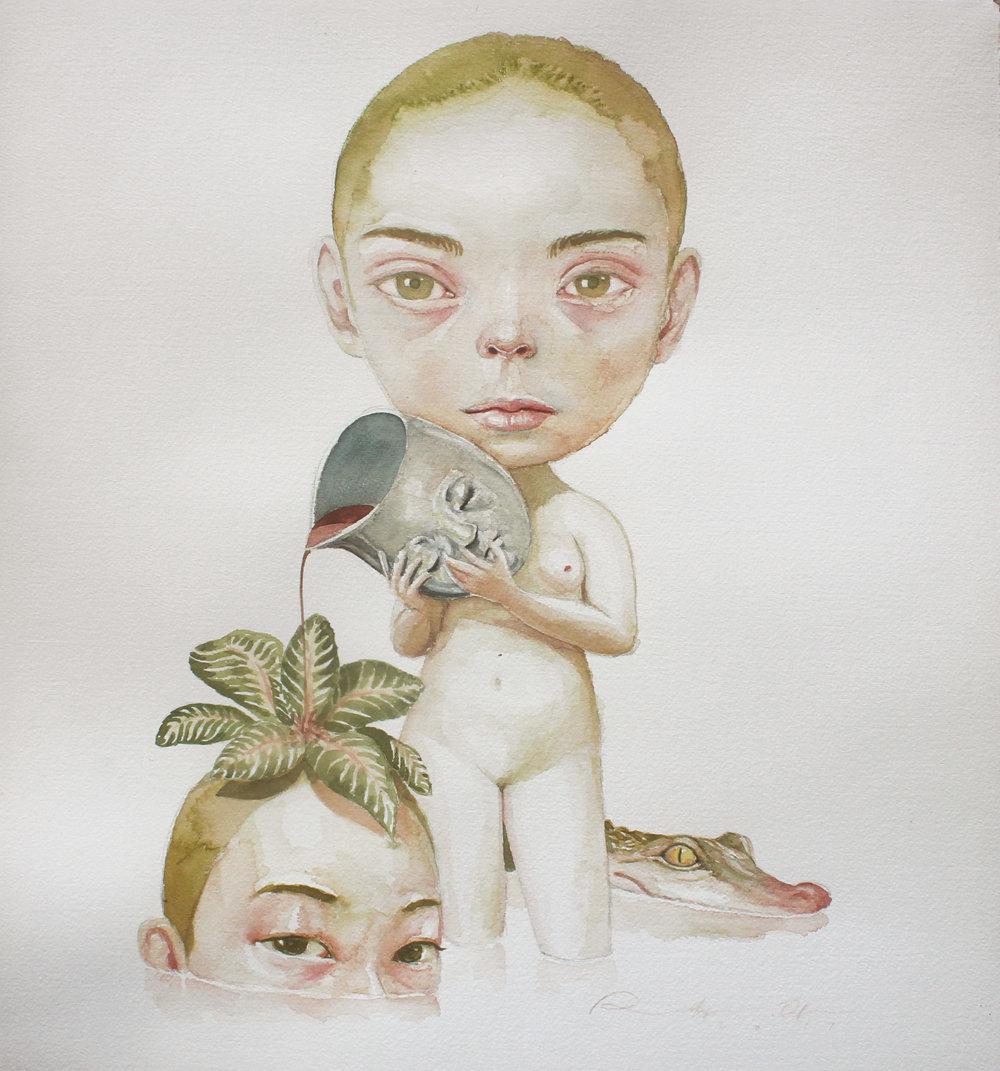 Roby Dwi Antono,CRADLE,  2017, watercolor on paper, 42 x 38 cm.JPG