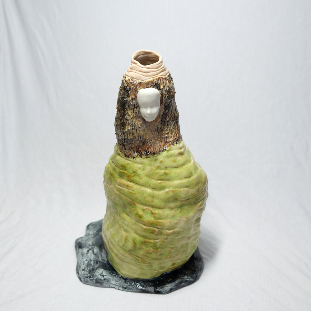 Debra   Handbuilt and molded porcelain with glaze and oxide wash. 2018.