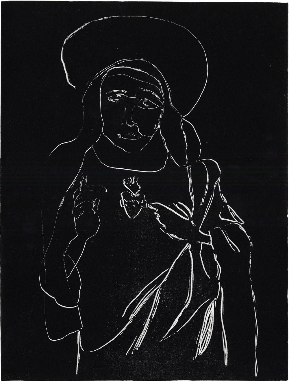 Blessed Mother   Modified contour monotype on paper. 2017.