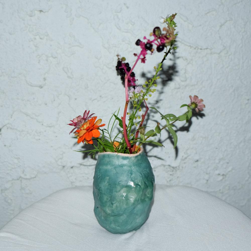 Judith Bud Vase   Handbuilt porcelain with underglaze and oxide wash. 2018.